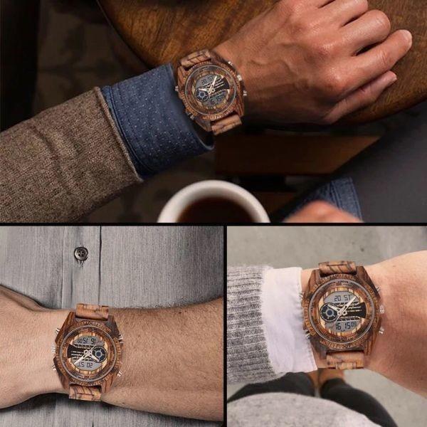 〇注目商品〇 木製腕時計 スポーツクォーツメンズウォッチ トップブランド 高級 LED デジタル時計 木製腕時計 男性レロジオ_画像6