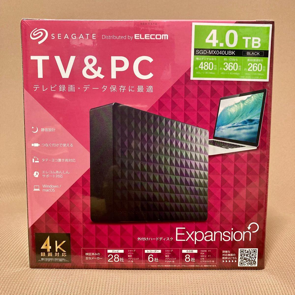 新品未開封 エレコム 外付けハードディスク 4.0TB SGD-MX040UBK  ELECOM Expansion テレビ録画