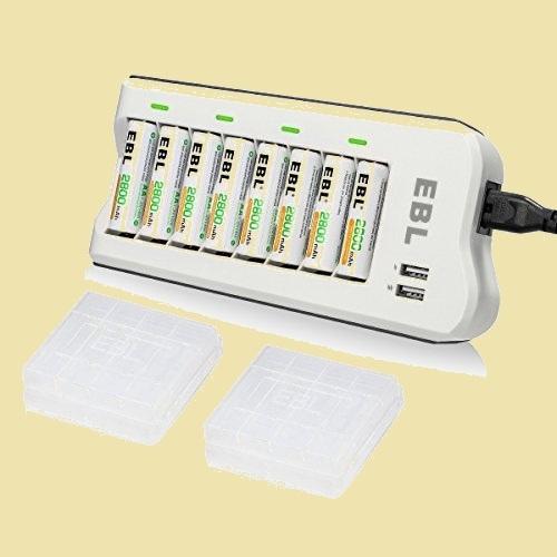 未使用 新品 充電池充電器セット EBL 2-XH 8スロット充電器+単三電池(2800mAh*8)セット 単三単四ニッケル水素/ニカド充電池に対応_画像1