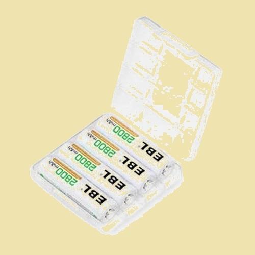未使用 新品 単3形充電池 EBL Y-1P AA単3充電池 防災電池 充電式ニッケル水素電池2800mAh 4本入り ケ-ス1個付き 約1200回使用可能_画像1