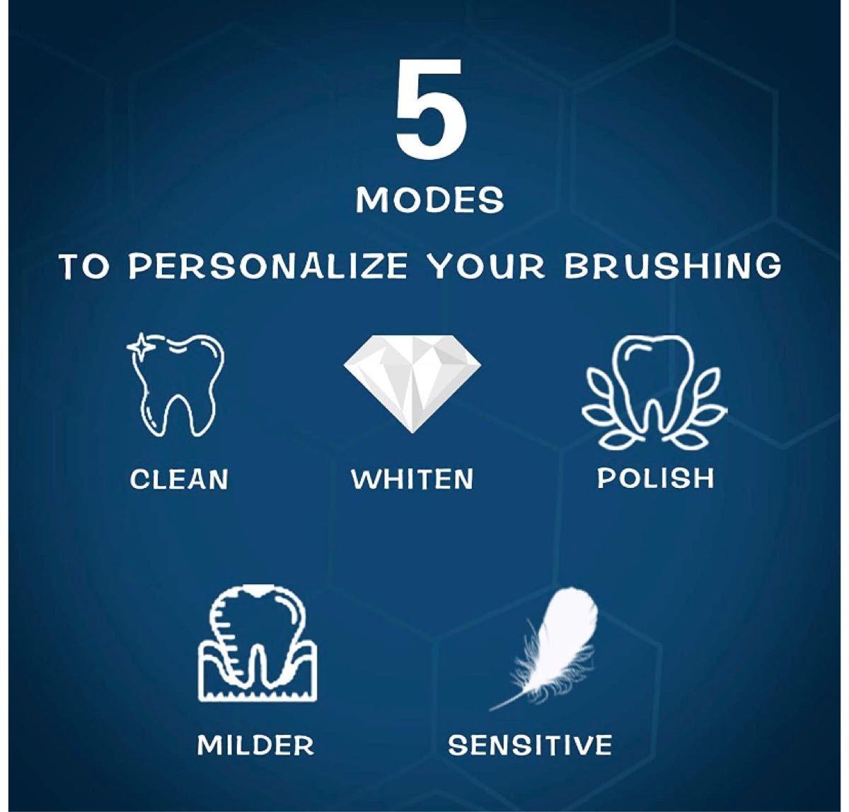 電動歯ブラシ 音波歯ブラシ用高度な磁気浮上モータ技術 歯ブラシ ハブラシ替えブラ5つのブラッシングモード2分間オートタイマーシ4本