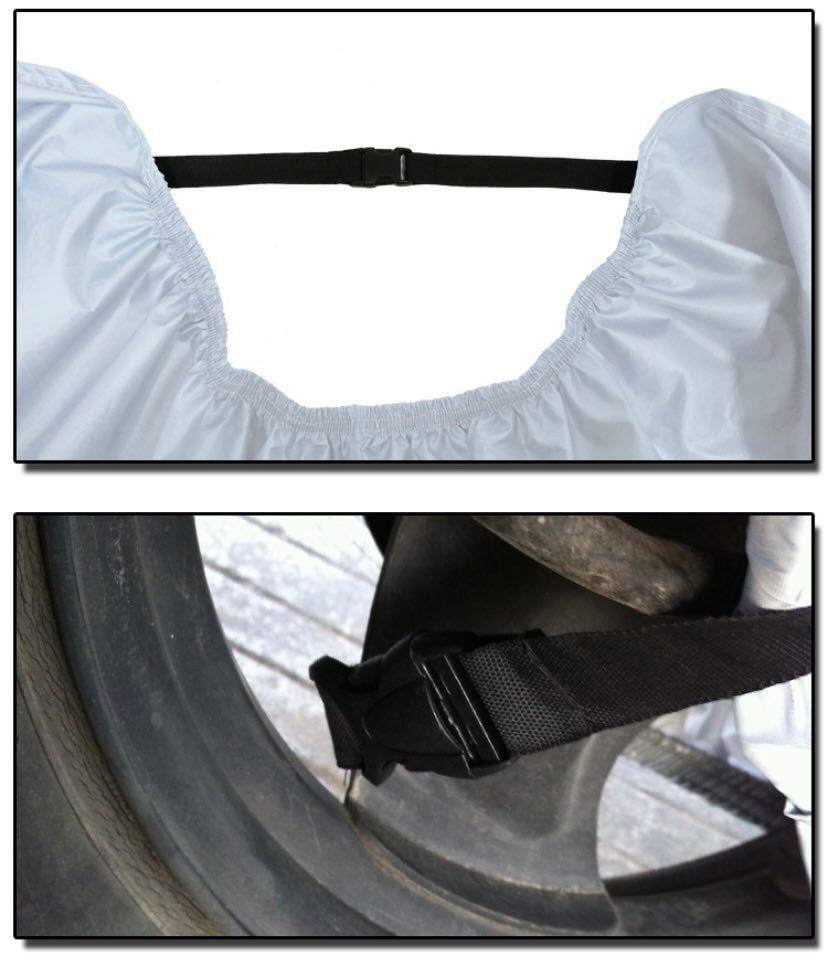 バイクカバー 黒×銀 3XL 中型 耐熱 防水 防風 防雪 防犯 UV 雨対策_画像4