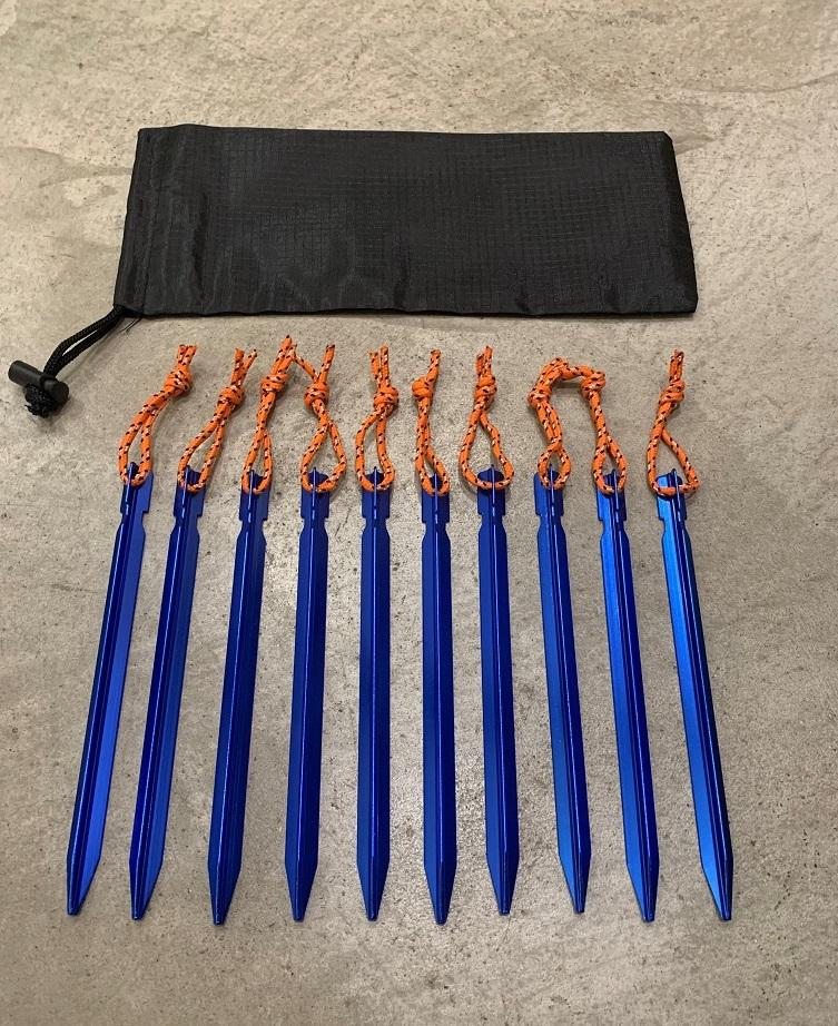 ペグ アルミ製 10本 ケース付 軽量 青 ブルー 丈夫 テント タープ キャンプ ソロキャンプ バーベキュ BBQ アウトドア 川遊び グランピング