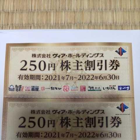 ヴィア・ホールディングス 株主優待券 1250円分_画像2