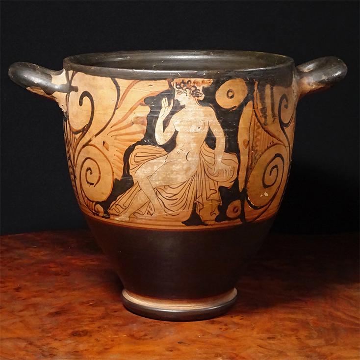 慶應◆古代ギリシャ美術! 紀元前5~紀元前4世紀 神話図 赤絵式ベル型クラテール 酒器 飾壺 赤像式陶器 時代箱