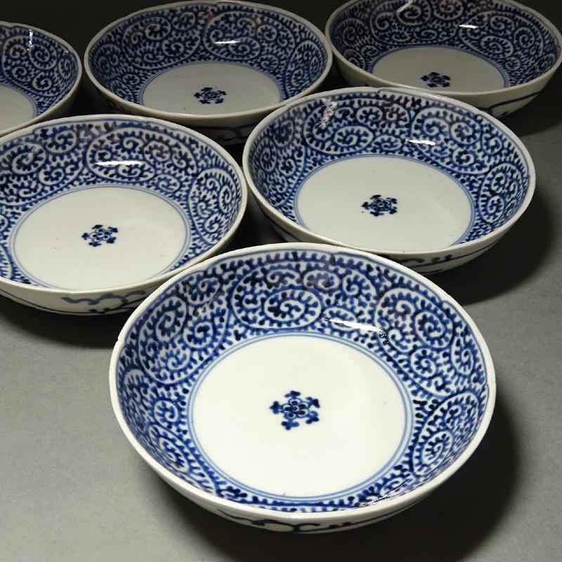 慶應◆江戸時代 古伊万里 染付蛸唐草文見込五弁花図なます皿五客