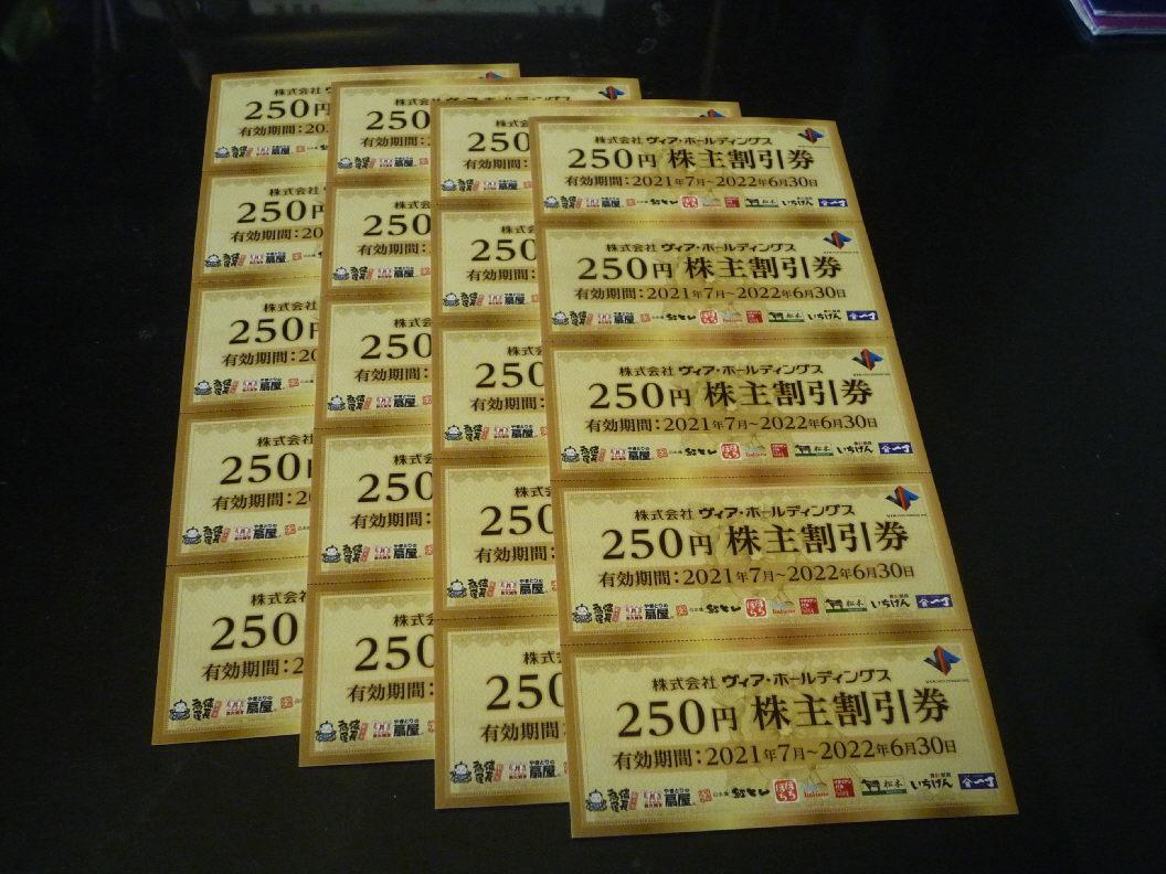 ☆☆☆☆送料無料 即決有 ヴィア ホールディングス 株主優待券 5000円分 期限2022年6月30日_画像1