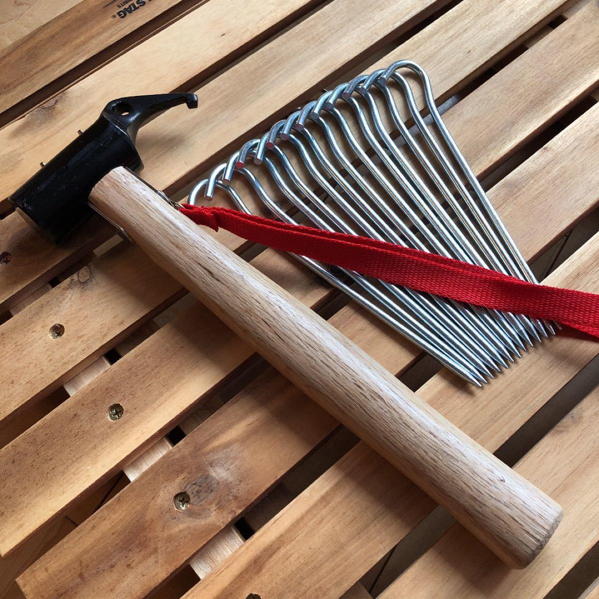 新品 ペグハンマー スチールペグ12本セット テントペグ ハンマー 金槌