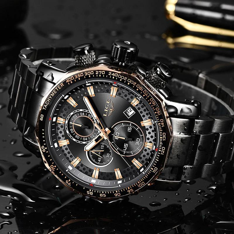 レロジオmasculino lige新スポーツクロノグラフメンズ腕時計トップブランドの高級フル鋼クォーツ時計防水ビッグダイヤル腕時計男性_画像3