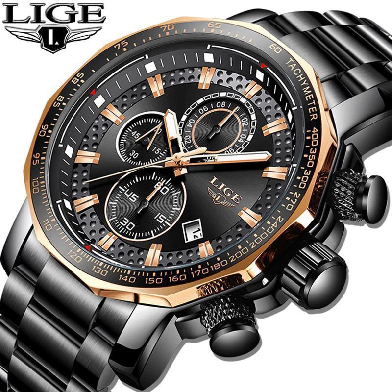 レロジオmasculino lige新スポーツクロノグラフメンズ腕時計トップブランドの高級フル鋼クォーツ時計防水ビッグダイヤル腕時計男性_画像1