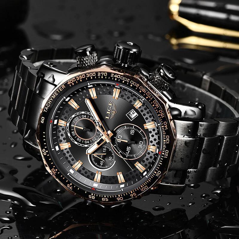 レロジオmasculino lige新スポーツクロノグラフメンズ腕時計トップブランドの高級フル鋼クォーツ時計防水ビッグダイヤル腕時計男性_画像2