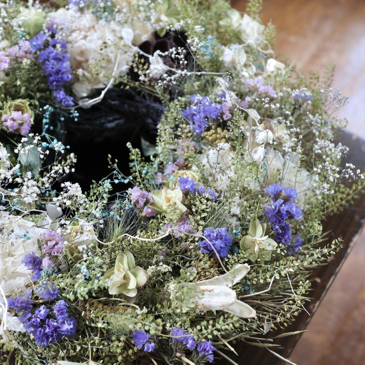 *kashun* L(38cm マメグンバイナズナとカラフルな小花のボリュームリース/ドライフラワー/プレゼント/新築祝い/開店祝い/誕生日プレゼント_画像7