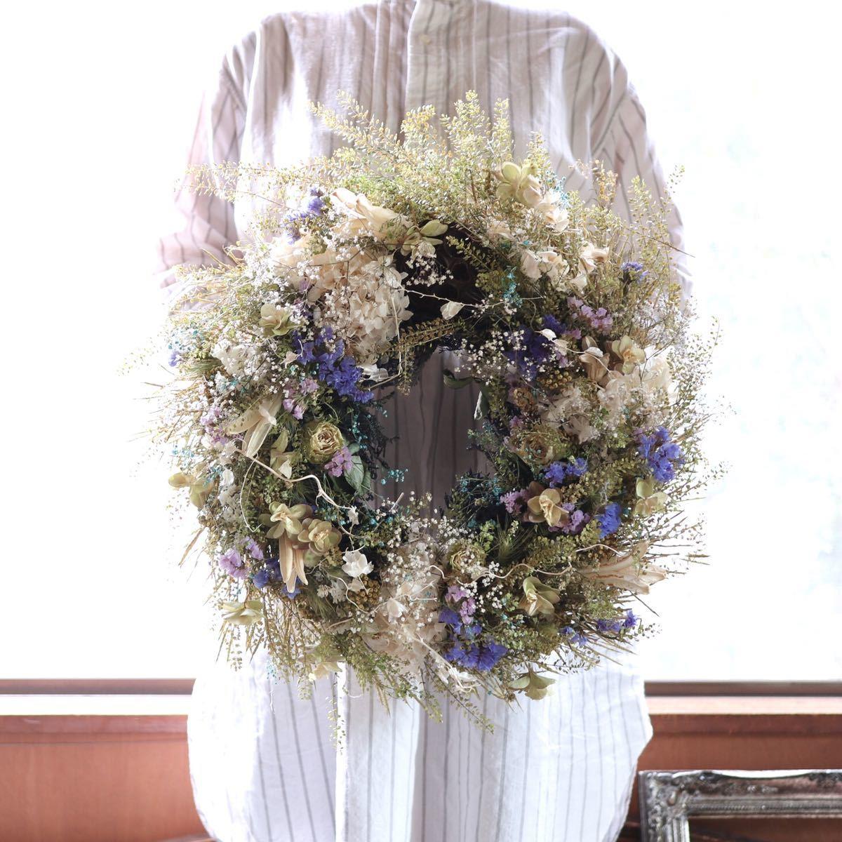 *kashun* L(38cm マメグンバイナズナとカラフルな小花のボリュームリース/ドライフラワー/プレゼント/新築祝い/開店祝い/誕生日プレゼント_画像2
