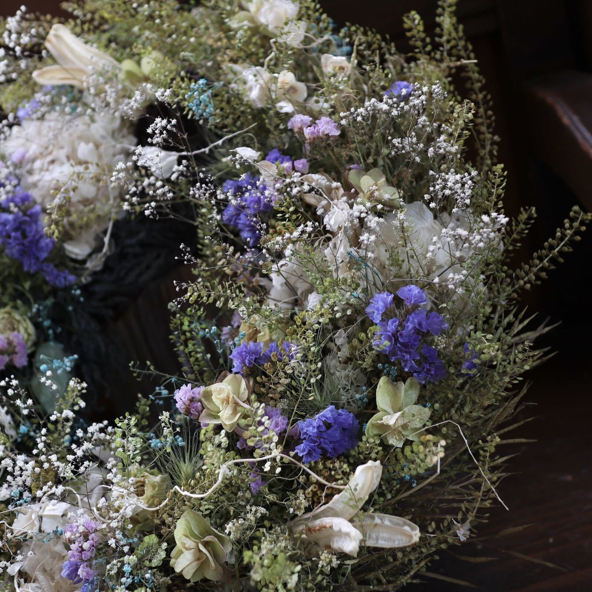 *kashun* L(38cm マメグンバイナズナとカラフルな小花のボリュームリース/ドライフラワー/プレゼント/新築祝い/開店祝い/誕生日プレゼント_画像4