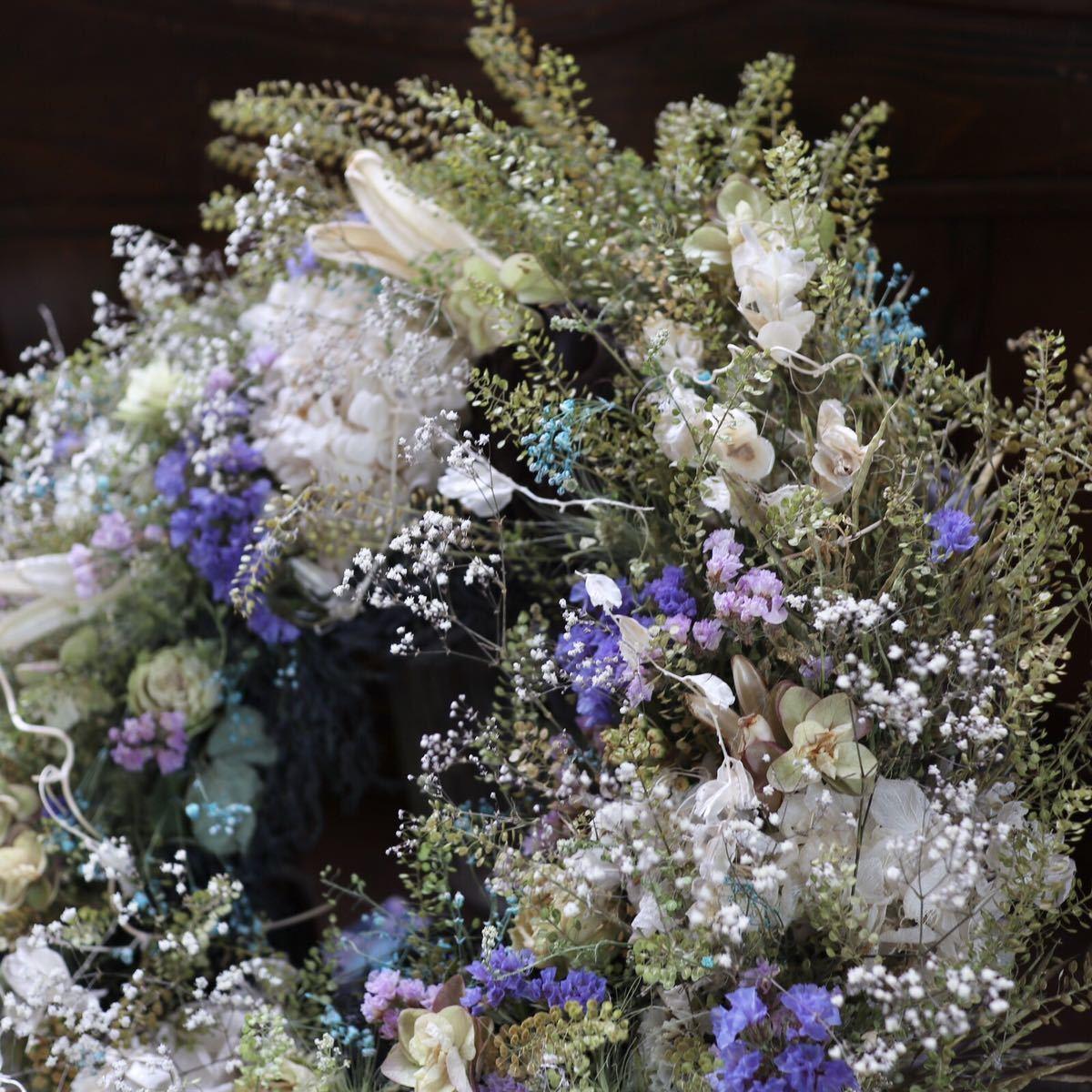 *kashun* L(38cm マメグンバイナズナとカラフルな小花のボリュームリース/ドライフラワー/プレゼント/新築祝い/開店祝い/誕生日プレゼント_画像5