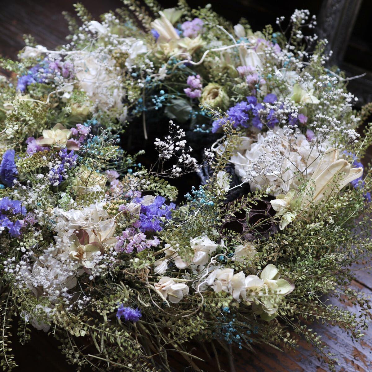 *kashun* L(38cm マメグンバイナズナとカラフルな小花のボリュームリース/ドライフラワー/プレゼント/新築祝い/開店祝い/誕生日プレゼント_画像6