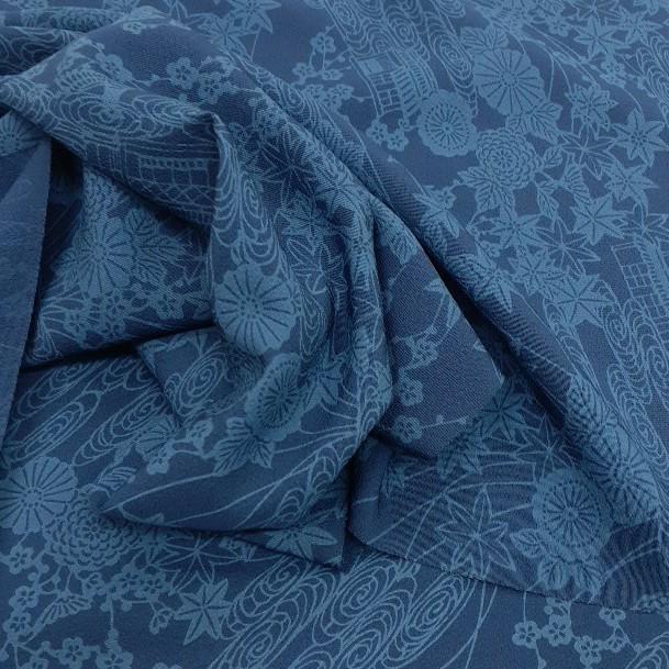 正絹 72901 藍色 小紋 藍染 シルク250cm はぎれ ハギレ リメイク ハンドメイド