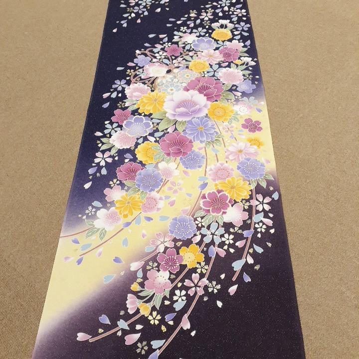 正絹 70298 紺紫色 花柄 ぼかし シルク230cm はぎれ ハギレ リメイク ハンドメイド