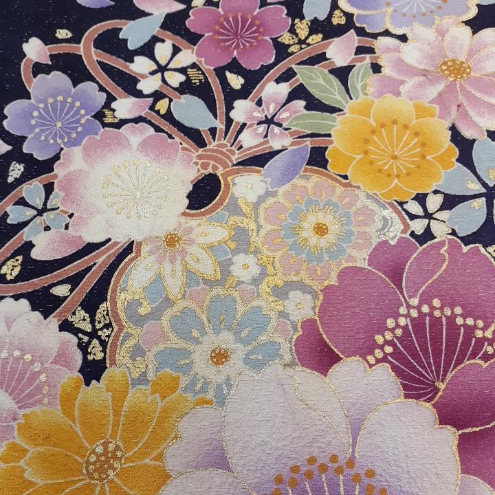 正絹 70297 紺色紫色 花柄 ぼかし シルク230cm はぎれ ハギレ リメイク ハンドメイド