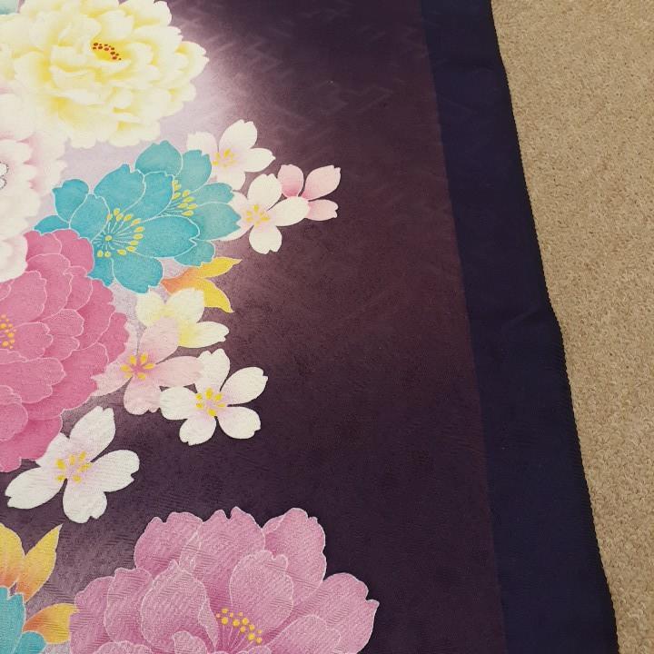 正絹 70295 紺色紫色 花柄 ぼかし シルク340cm はぎれ ハギレ リメイク ハンドメイド