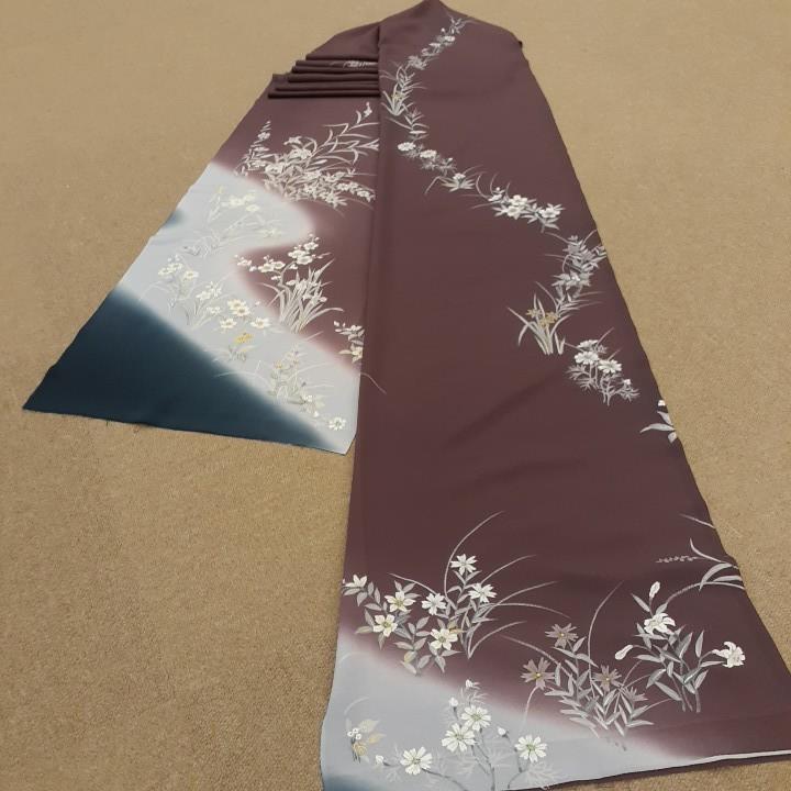 正絹 70294 あずき色赤紫色 グレーぼかし シルク340cm はぎれ ハギレ リメイク ハンドメイド