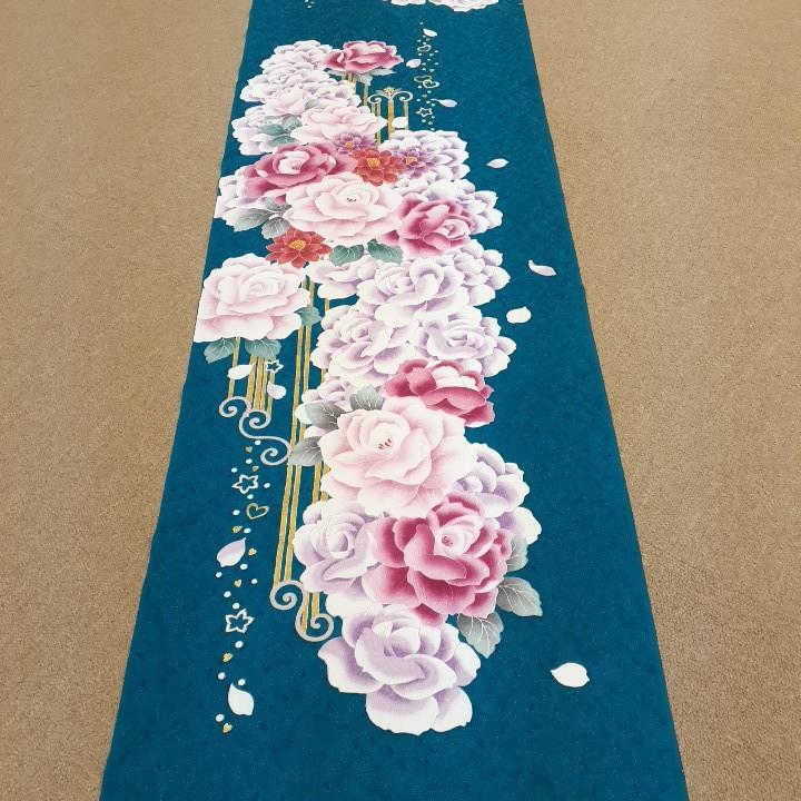正絹 70797 青緑色 花柄 金色 シルク230cm はぎれ ハギレ リメイク ハンドメイド