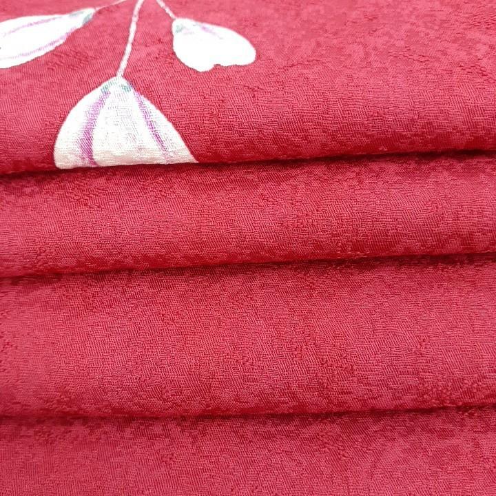 専用です。正絹 70795 赤色紫色 花柄 シルク230cm はぎれ ハギレ リメイク ハンドメイド