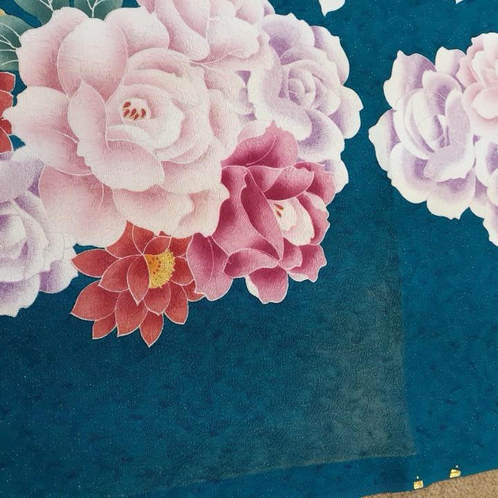 正絹 70801 青緑色 花柄 紫色 シルク350cm はぎれ ハギレ リメイク ハンドメイド