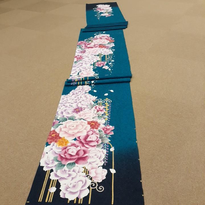 正絹 70802 青緑色 花柄 紫色 シルク350cm はぎれ ハギレ リメイク ハンドメイド