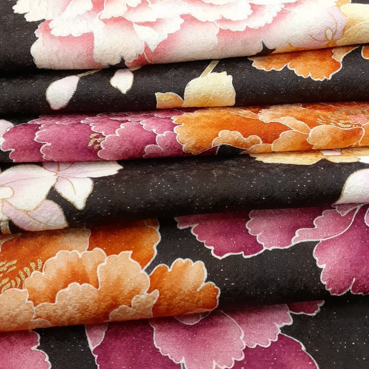 正絹 71099 小豆色 焦げ茶色 ピンク色 花柄 シルク350cm はぎれ ハギレ リメイク ハンドメイド