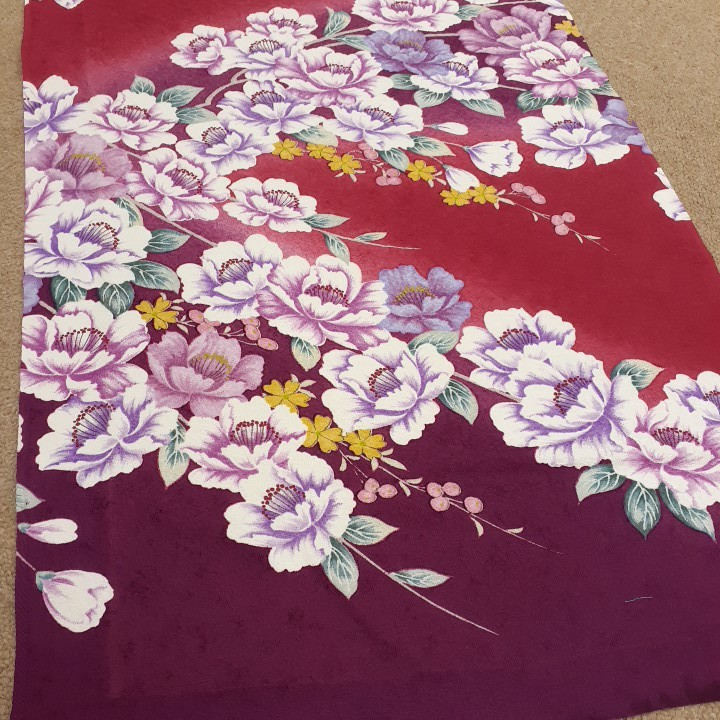 正絹 71095 赤色 紫色 花柄 シルク350cm はぎれ ハギレ リメイク ハンドメイド