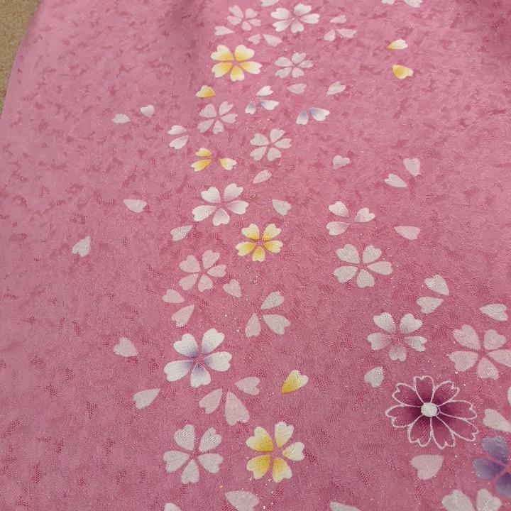 正絹 71094 ピンク色 桜柄 シルク230cm はぎれ ハギレ リメイク ハンドメイド