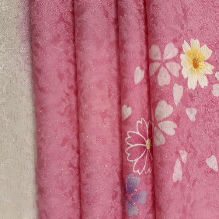正絹 71093 ピンク色 桜柄 シルク230cm はぎれ ハギレ リメイク ハンドメイド