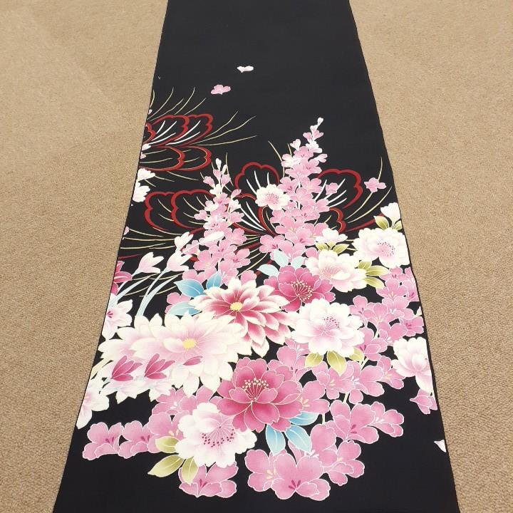 正絹 71692 花柄 黒色 シルク350cm はぎれ ハギレ リメイク ハンドメイド