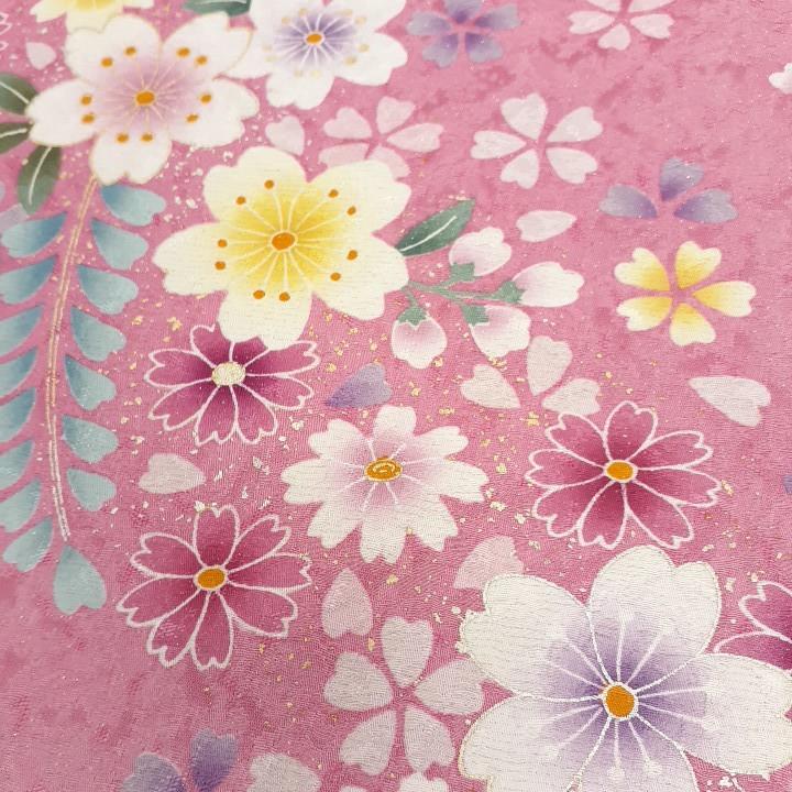 正絹 73005 かわいいピンク色 花柄 桜柄 シルク350cm はぎれ ハギレ リメイク ハンドメイド