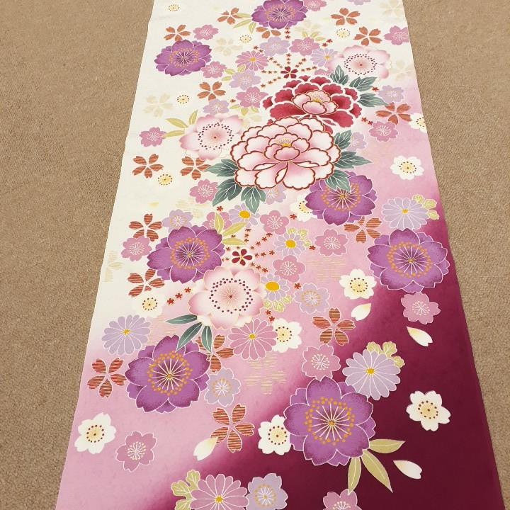 正絹 73006 白色 ピンク色 花柄 シルク230cm はぎれ ハギレ リメイク ハンドメイド