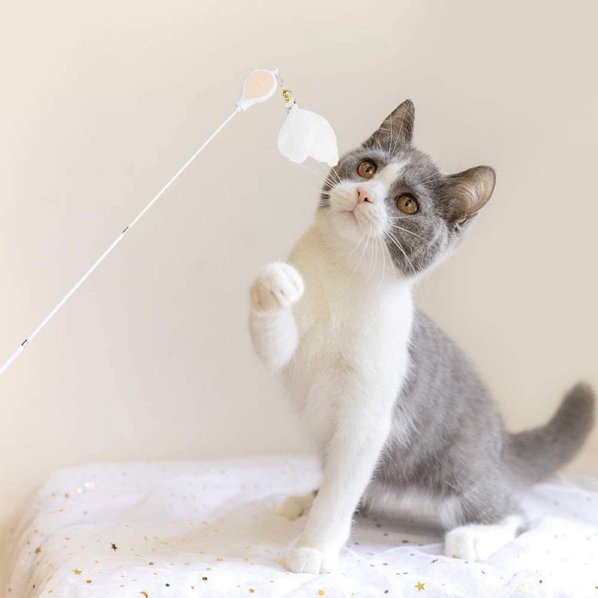 猫おもちゃ人気釣り竿 猫じゃらし羽のおもちゃ ねこじゃらし伸縮可能 2本セット