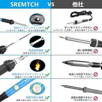 新品青 SREMTCH はんだごてセット 21-in-1 温度調節可(200~450℃) ON/OFFスイッチ 2NAZ_画像3