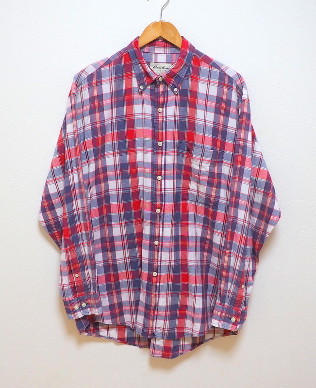 Eddie Bauer エディーバウアー ボタンダウンシャツ チェックシャツ M ロゴ刺繍