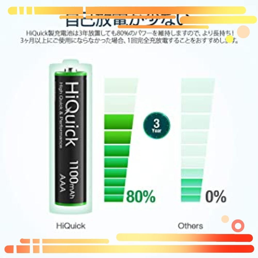 ▼▼単4形 HiQuick 電池 単4 充電式 単4充電池 ニッケル水素電池1100mAh 8本入り ケース2個付き_画像2