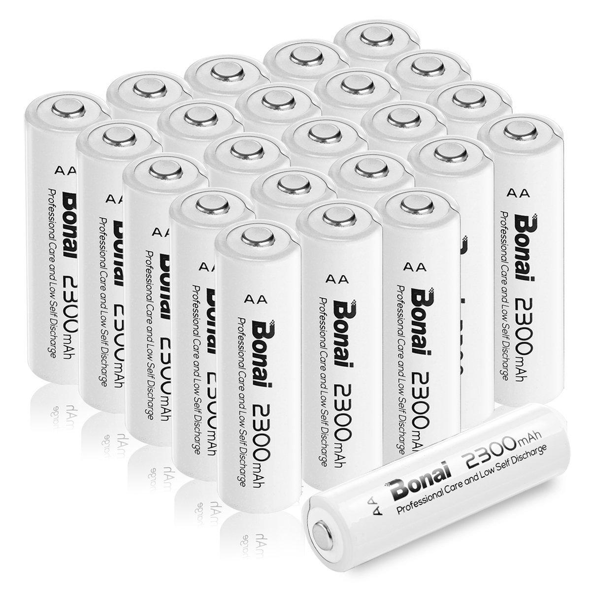 [新品/送料無料] Bonai 単3形 充電池 充電式ニッケル水素電池 24個パック PSE/CE取得 UL認証済み(高容量2300mAh 約1200回使用可能)_画像1