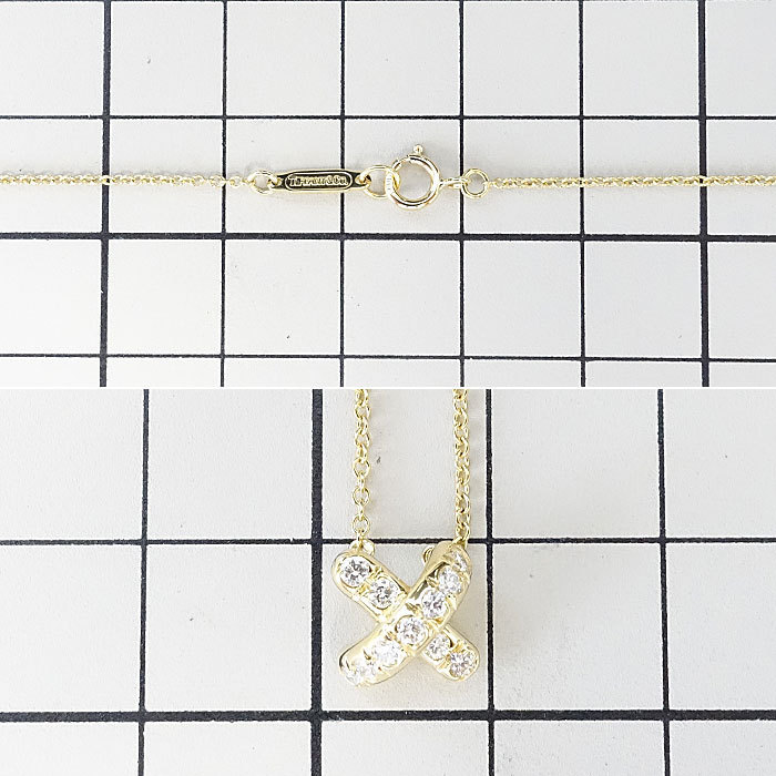 【SH59201】ティファニー ダイヤモンド ネックレス K18 イエローゴールド シグネチャー TIFFANY&Co.【中古】_画像2