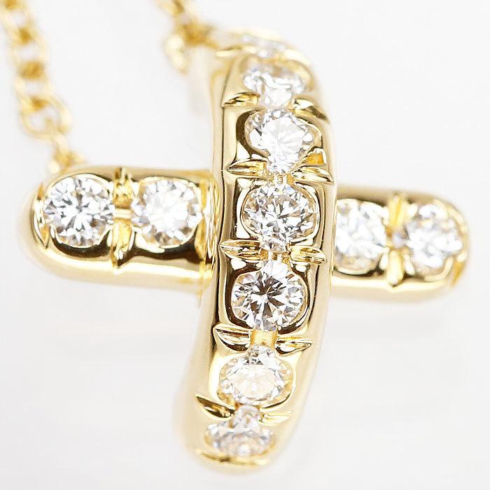 【SH59201】ティファニー ダイヤモンド ネックレス K18 イエローゴールド シグネチャー TIFFANY&Co.【中古】_画像4