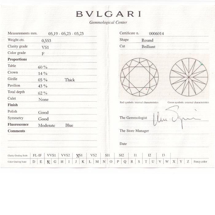 【SH59198】ブルガリ ダイヤモンド リング 0.553ct F VS1 G プラチナ Pt950 コロナ 一粒石 BVLGARI【中古】_画像6