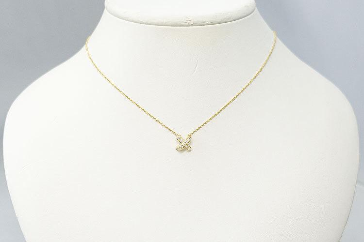 【SH59201】ティファニー ダイヤモンド ネックレス K18 イエローゴールド シグネチャー TIFFANY&Co.【中古】_画像5