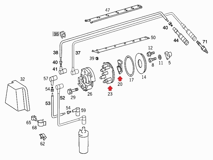 現品在庫1セット限り!ベンツ純正品&Bosch M103用 ディスビキャップ等3点セット(A1031580002、A1031580331、A1031580685)_画像7