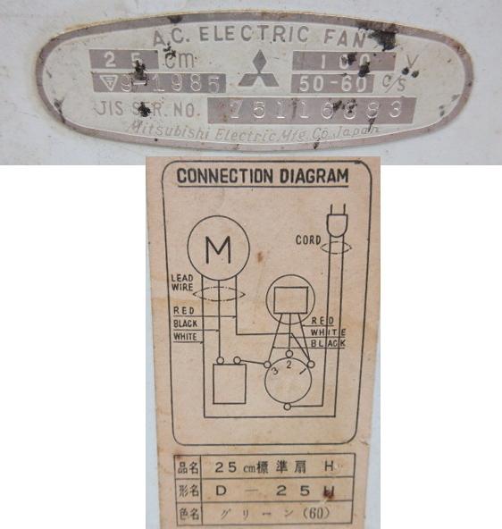 XE158■昭和レトロ 三菱 壁掛型 扇風機 羽根25cm D-25 / MITSUBISHI【引取可】_画像10