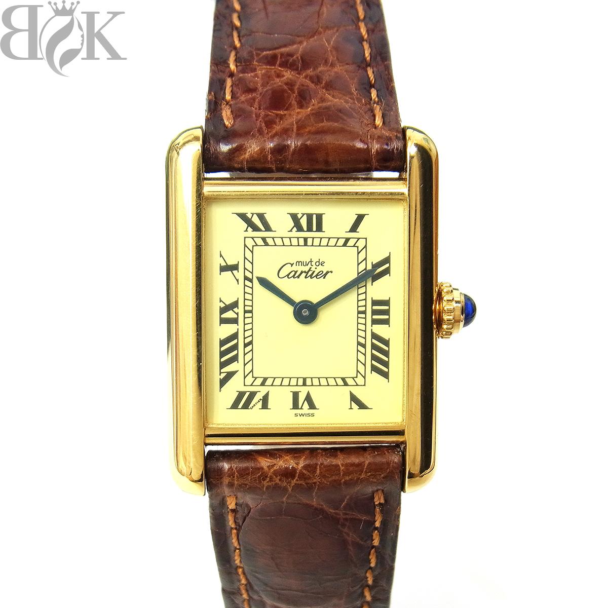 1円~ カルティエ マストタンク ヴェルメイユ 925 レディース 腕時計 クォーツ アイボリー文字盤 動作品 Cartier 〓