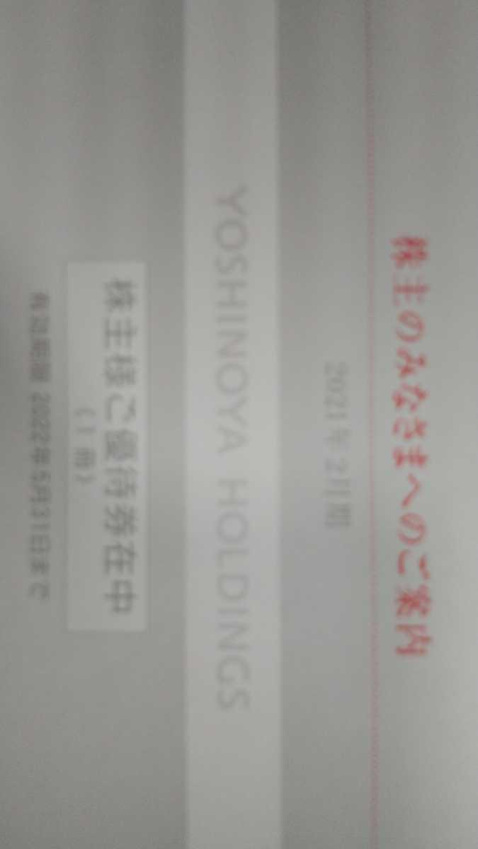 吉野家株主優待券 3000円分(300円×10枚)、使用期限2022年5月31日_画像1