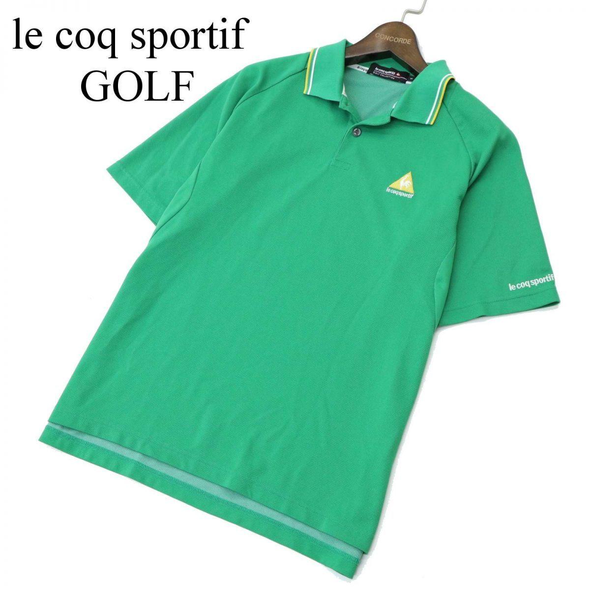 le coq sportif GOLF ルコック スポルティフ ゴルフ ロゴ刺繍★ 半袖 ポロシャツ Sz.M メンズ 緑 A1T08648_7#A_画像1